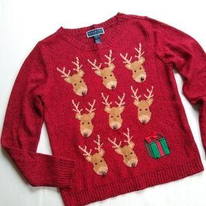 Karen Scott • red knit reindeer christmas Sweater